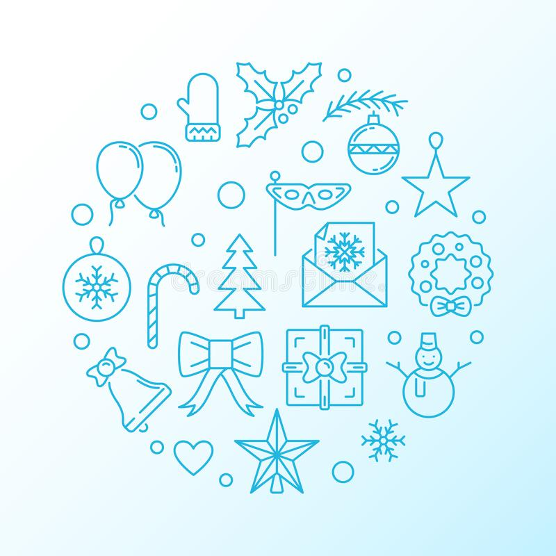 Illustration au trait mince vecteur rond bleu de Joyeux Noël illustration libre de droits