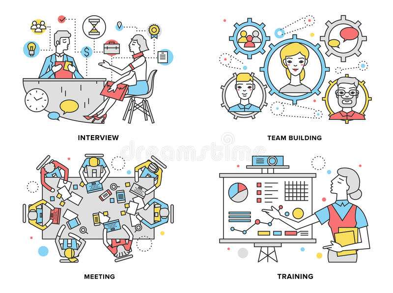 Illustration au trait plat ressources humaines illustration stock