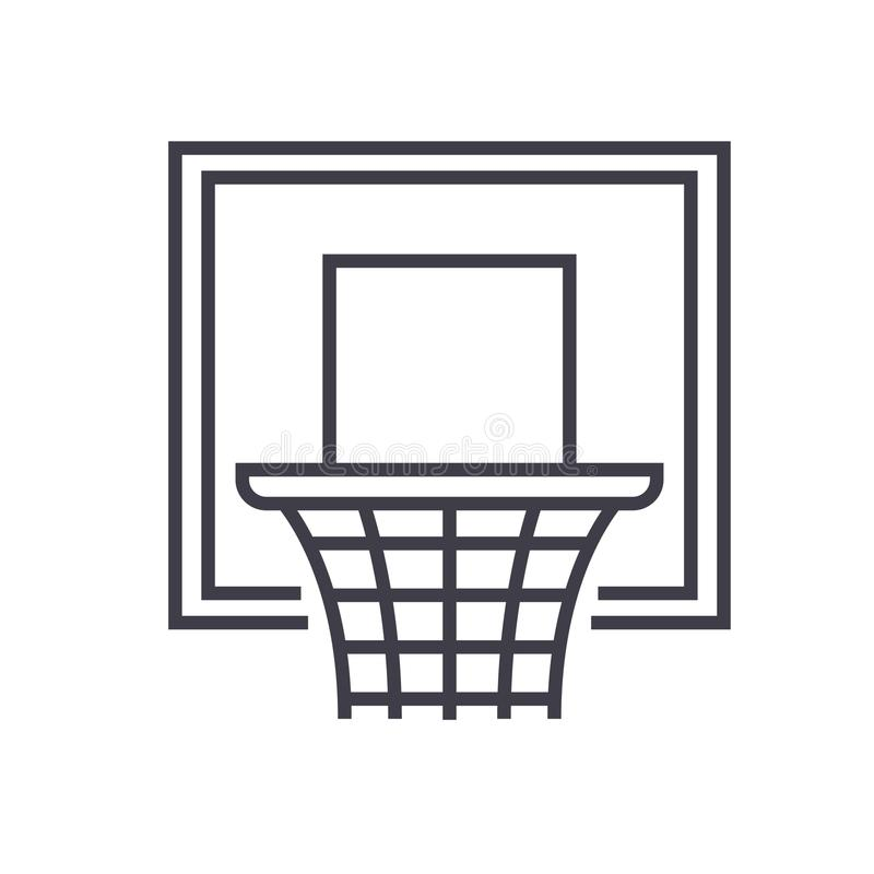 Illustration au trait plat, vecteur cercle de basket-ball de concept a isolé l'icône sur le fond blanc illustration stock