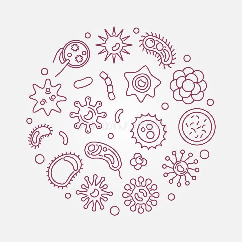 Illustration au trait rouge concept rond de vecteur de virus ou d'agent pathogène illustration libre de droits
