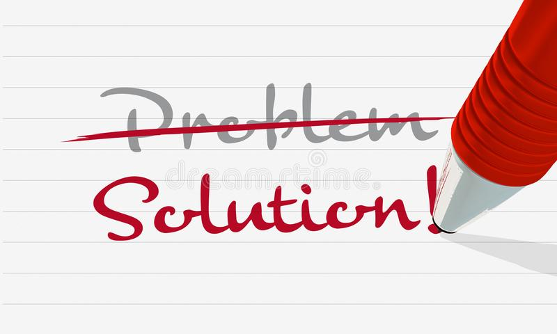 Illustration auf dem Lösen von Problemen, ein Stift schreibt das Wortproblem und -lösung, wenn das Wortproblem heraus gekreuzt is lizenzfreie stockfotos