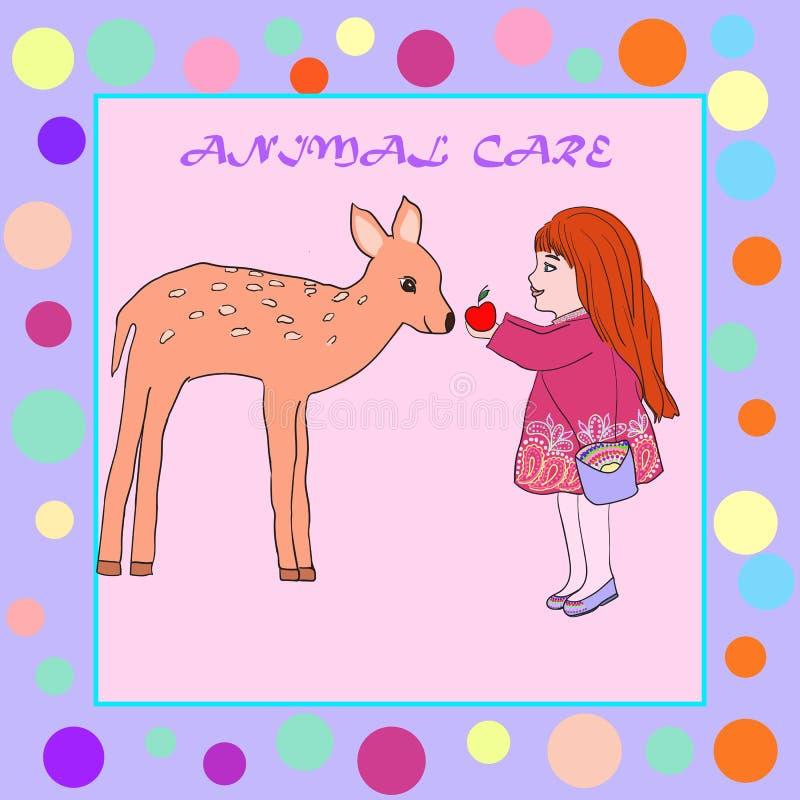Illustration auf dem Thema des Zeichnungsmädchens der Kinder zieht ein Rotwild ein lizenzfreie abbildung