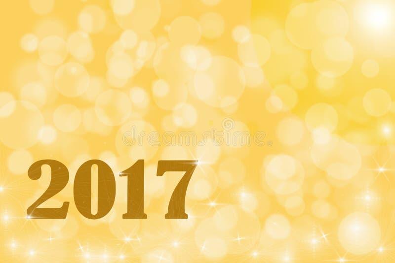 Illustration 2017 auf Gold-bokeh Hintergrund stockbilder