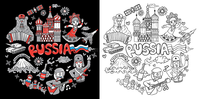 Illustration auf Lager des Russland-Ikonennetzes stellte lokalisiert ein vektor abbildung