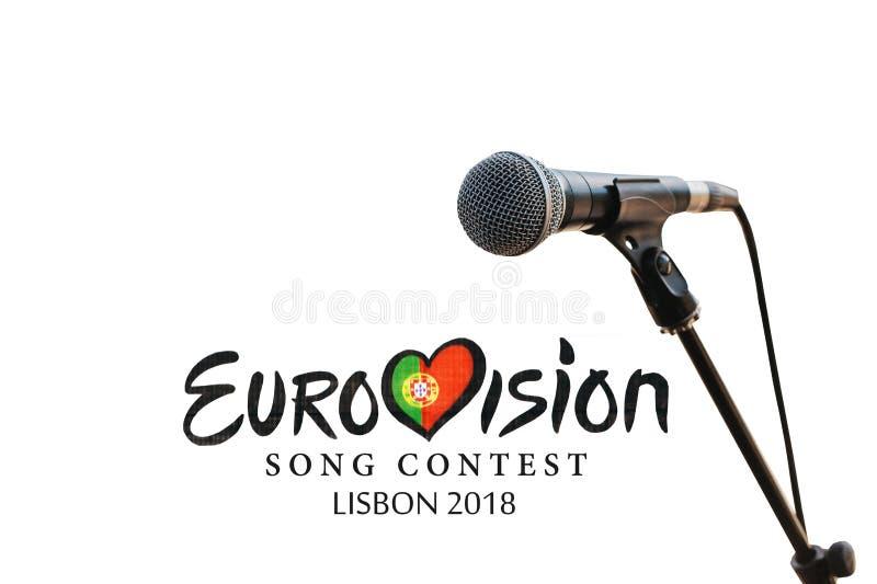 Illustration auf weißem Hintergrund Eurovisions-Lied-Wettbewerb Lissabon 2018 lizenzfreie stockfotos