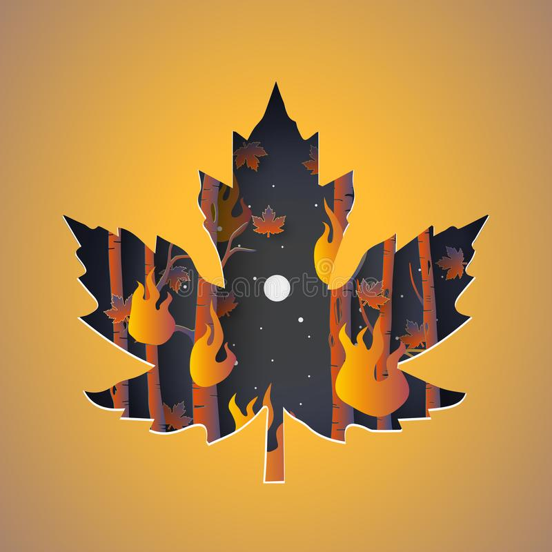 Illustration of autumn forest fires. Covered by leaf paper cut stock illustration