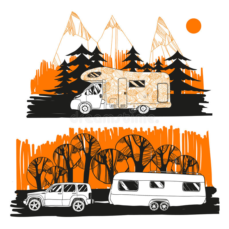 Illustration of autumn landscape with camper van on road top view, motorhome. Family trip. Drawing design for logo trip stock illustration