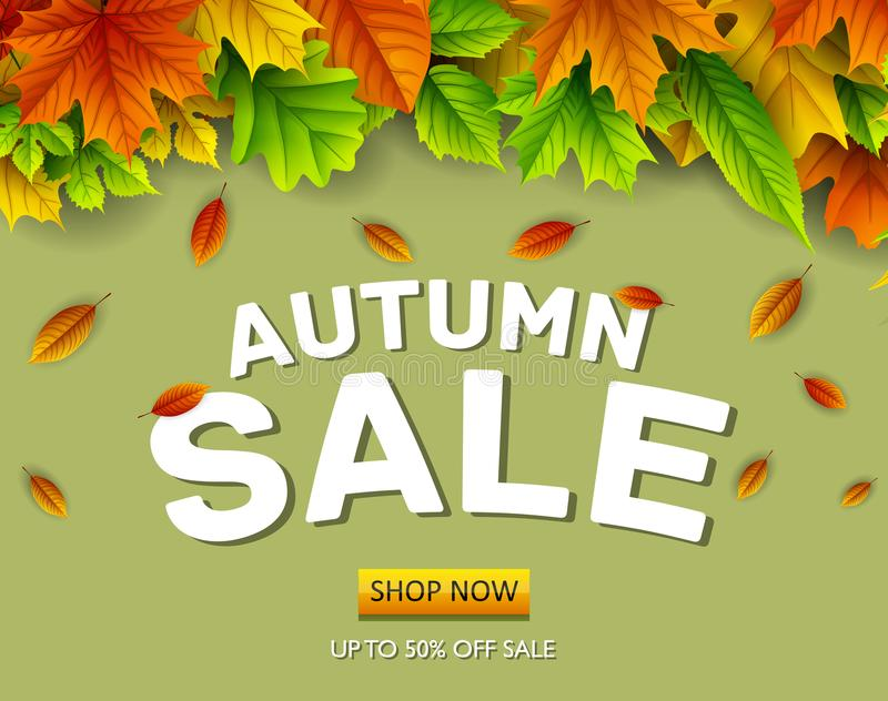 Autumn sale background with falling leaves. Illustration of Autumn sale background with falling leaves royalty free illustration