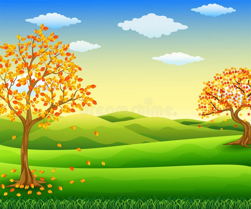 Autumn tree with falling leaves. Illustration of Autumn tree with falling leaves royalty free illustration