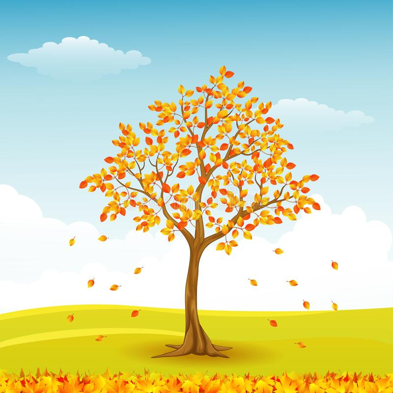 Autumn tree with falling leaves. Illustration of Autumn tree with falling leaves vector illustration