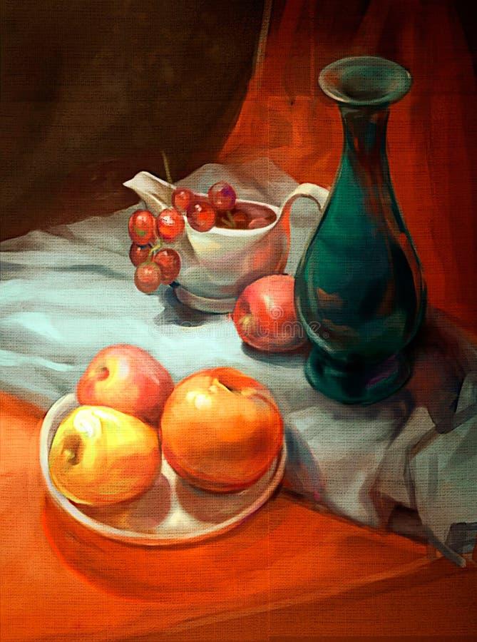 Illustration av äpplen och druvor på tabellen stock illustrationer