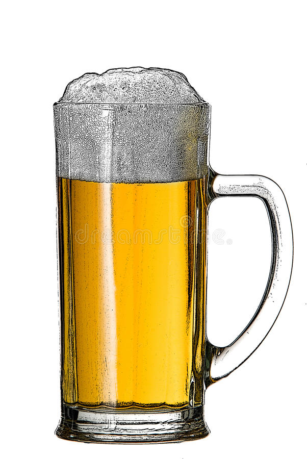 Illustration av ölexponeringsglas royaltyfria bilder
