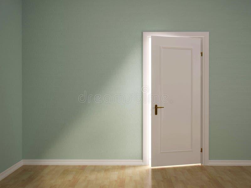 Illustration av öppet dörren till det gröna rummet vektor illustrationer