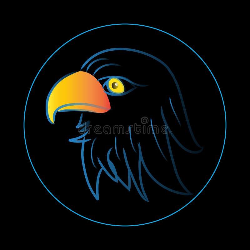 Illustration av örnhuvudet Logo Concept royaltyfri illustrationer