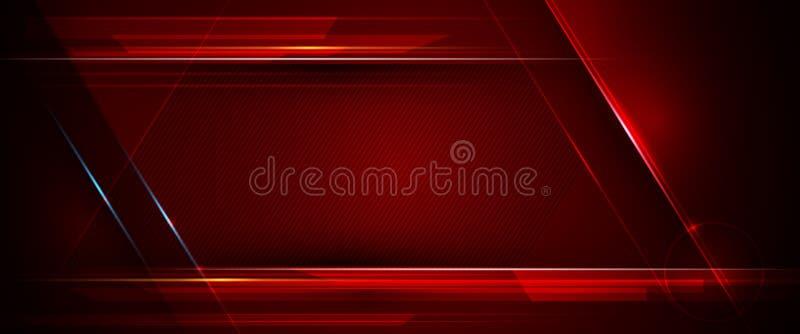 Illustration av abstrakt blått, rött och svart metalliskt med den ljusa strålen och den glansiga linjen Metallramdesign royaltyfri illustrationer