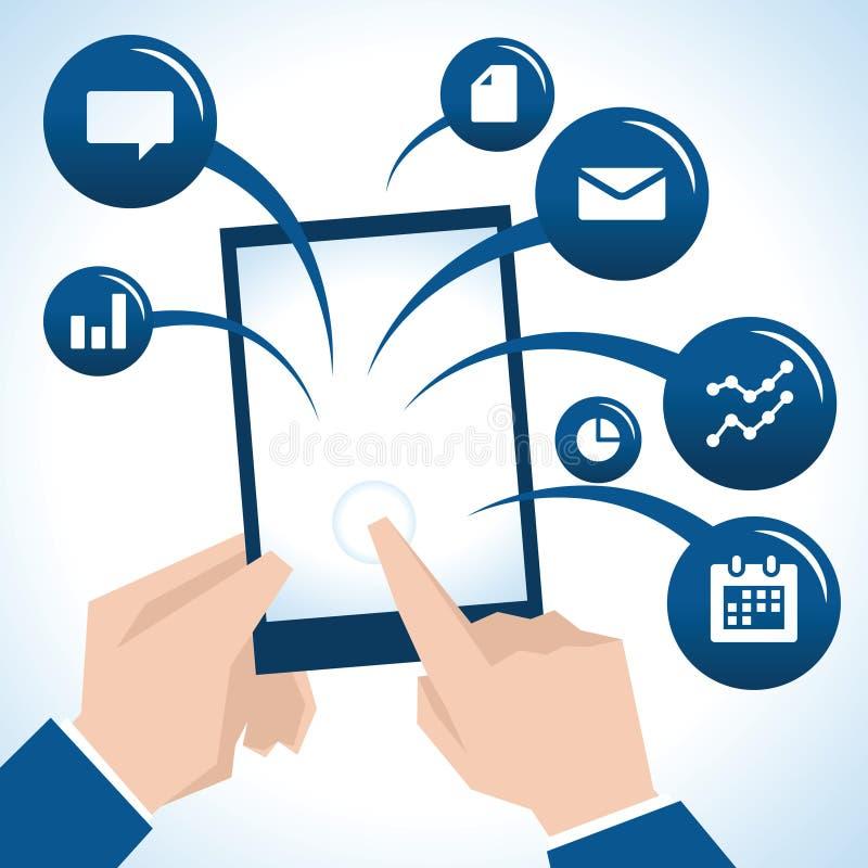 Illustration av affärsmannen With Digital Tablet och symboler vektor illustrationer