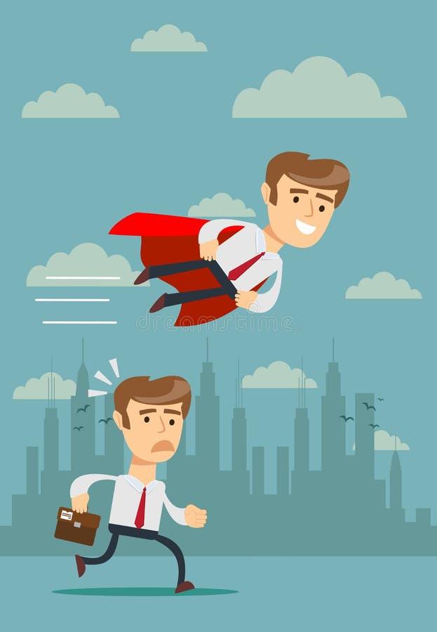 Illustration av affärsmannen med det röda uddeflugapasserandet hans konkurrent vektor illustrationer