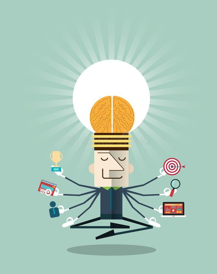 Illustration av affärsmannen som mediterar med multitasking royaltyfri illustrationer