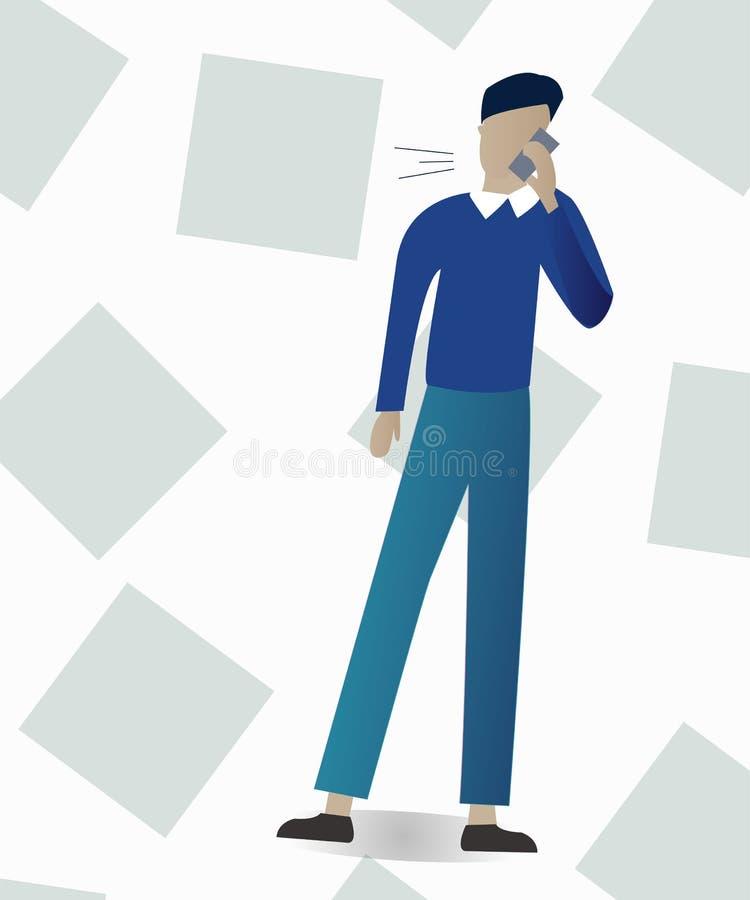 Illustration av affärsmannen som talar på telefonen vektor illustrationer