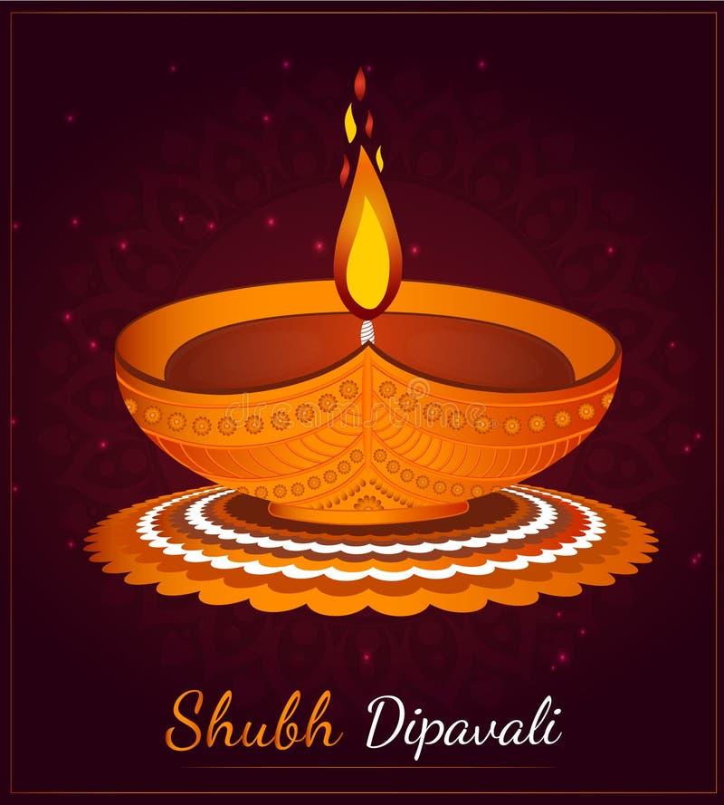 Illustration av att bränna diya på Gott Diwali Holiday-bakgrund royaltyfri illustrationer