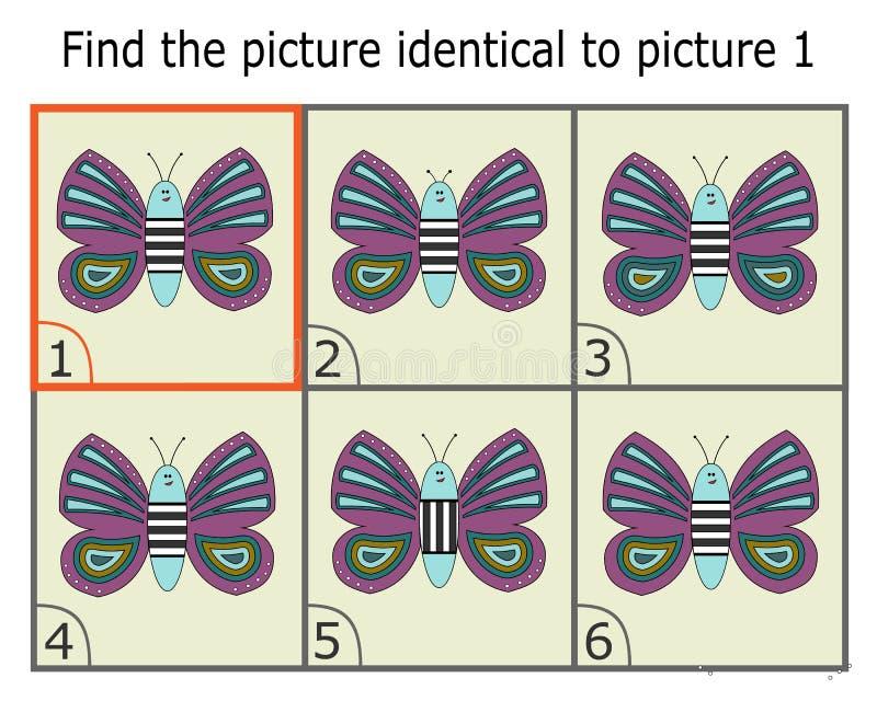 Illustration av att finna två identiska bilder Bildande lek för barn Fjäril royaltyfri illustrationer