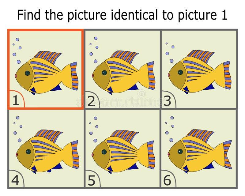 Illustration av att finna två identiska bilder Logiklek Bildande lek för barn Finna samma royaltyfri illustrationer