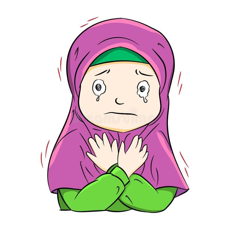 Illustration av att gråta den muslim flickan, vektorillustration I vektor illustrationer