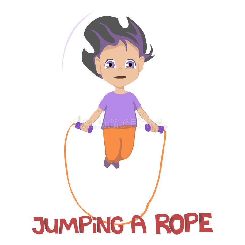 Illustration av att grina unga flickan i purpurfärgad skjorta och orange flåsanden som hoppar ett rep över vit bakgrund, vektor vektor illustrationer