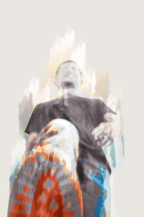 Illustration av att människor går framåt, målar digitalt vektor illustrationer