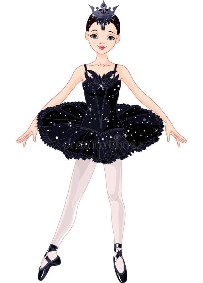 Svart Ballerina royaltyfri illustrationer