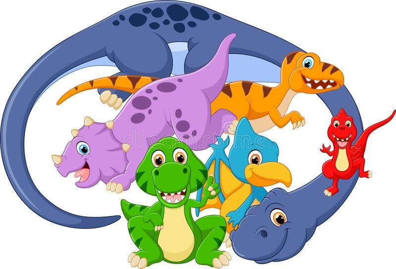 Illustration av att posera för dinosaurie royaltyfri illustrationer