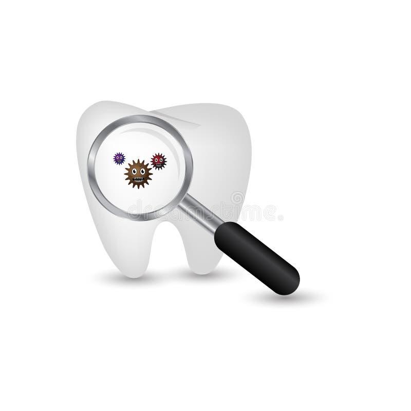 Illustration av att se en tand- bakterie genom att använda ett förstoringsglas stock illustrationer