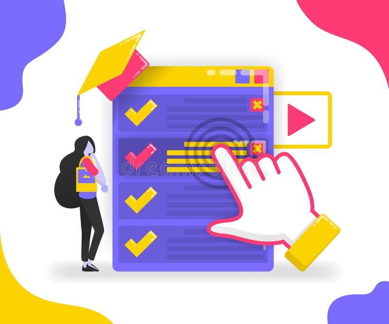 Illustration av att välja en avdelning eller ett jobb för studenter och kandidater Applikation för avläggande av examenplanläggni royaltyfri illustrationer