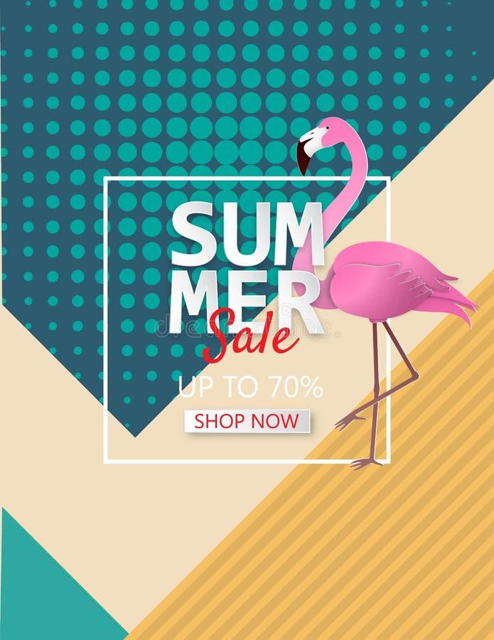 Illustration av bakgrund för sommarförsäljningsaffisch med flamingo vektor illustrationer