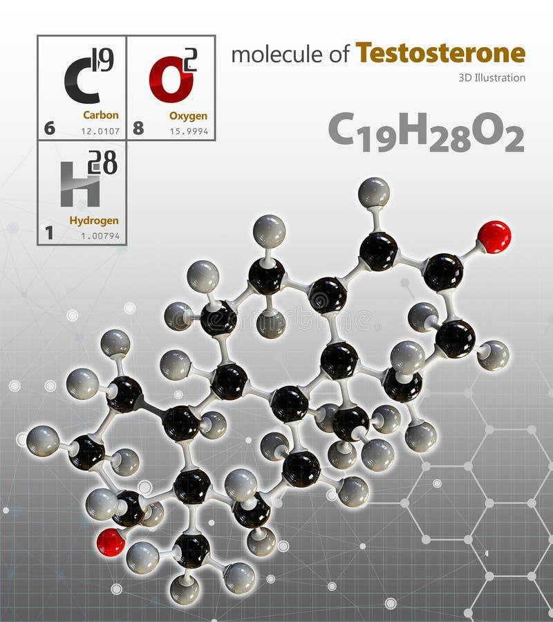 Illustration av bakgrund för testosteronmolekylgrå färger royaltyfri illustrationer