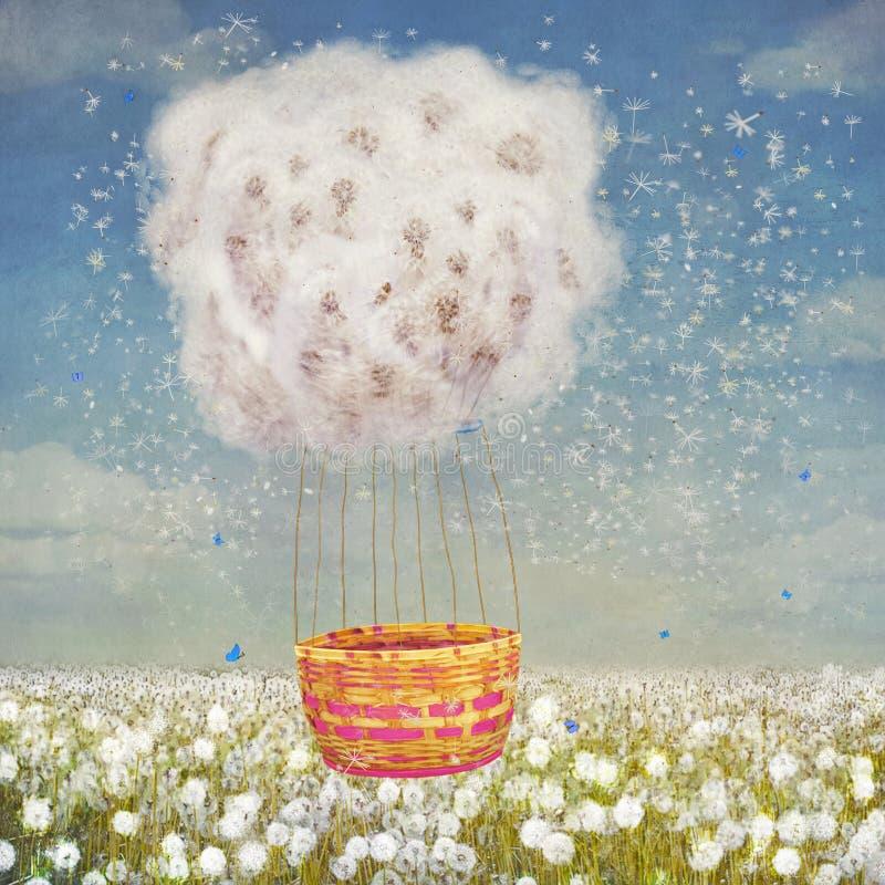Illustration av ballongen i form av maskrosor royaltyfri illustrationer