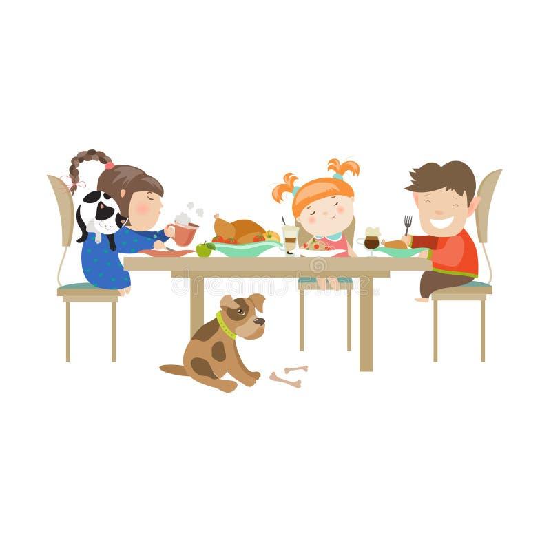 Illustration av barn som äter på en vit vektor illustrationer