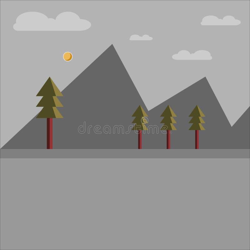 Illustration av berglandskapet i midnatt stock illustrationer