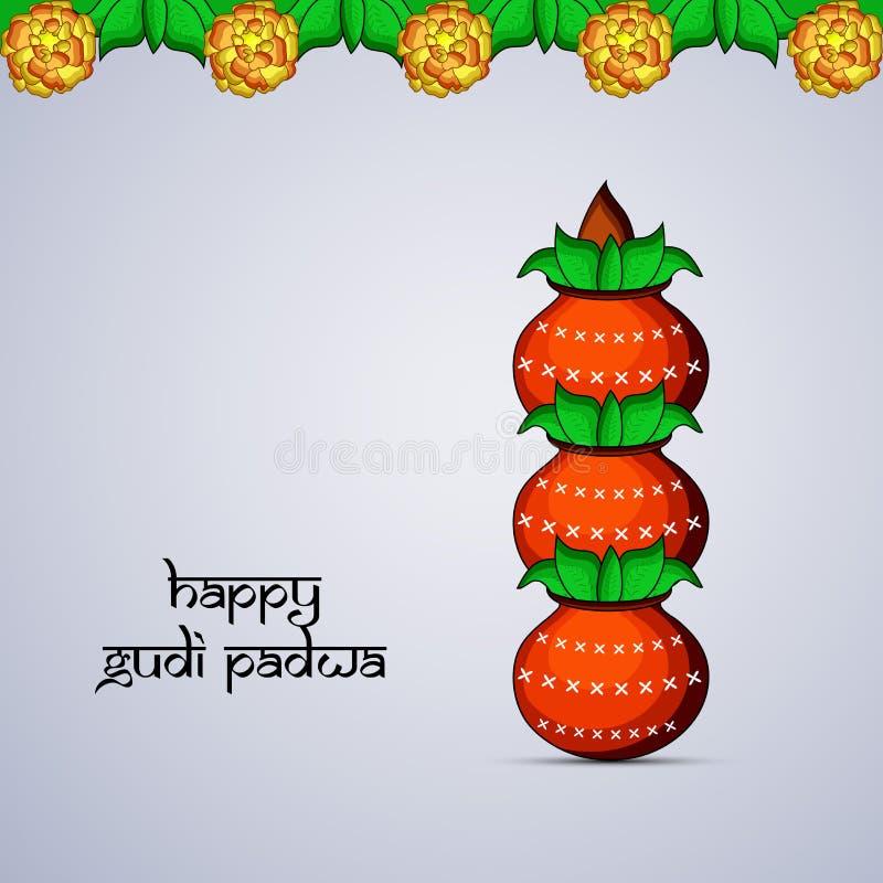 Illustration av beståndsdelar av hinduisk festivalGudi Padwa bakgrund stock illustrationer