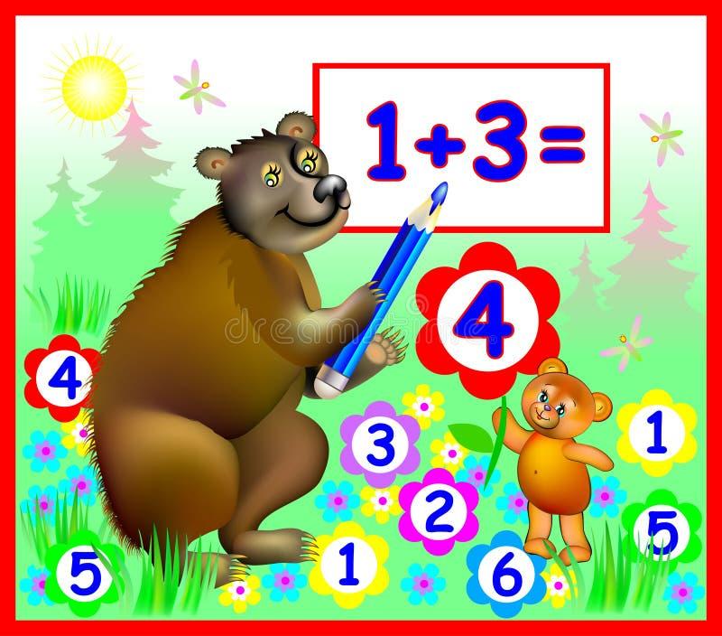 Illustration av björnar som lär räkningsnummer, vektorbild för schoolbook stock illustrationer