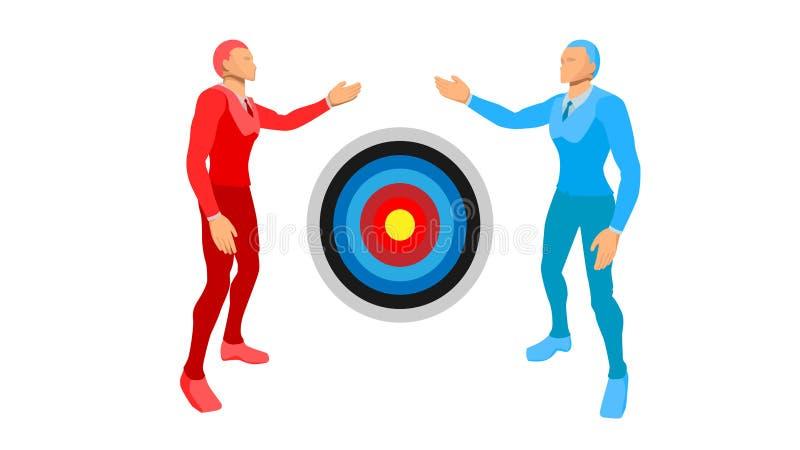 Illustration av blått-rätt två och röd-lämnade affärsmän de visar målfokusen av cirkeln stock illustrationer