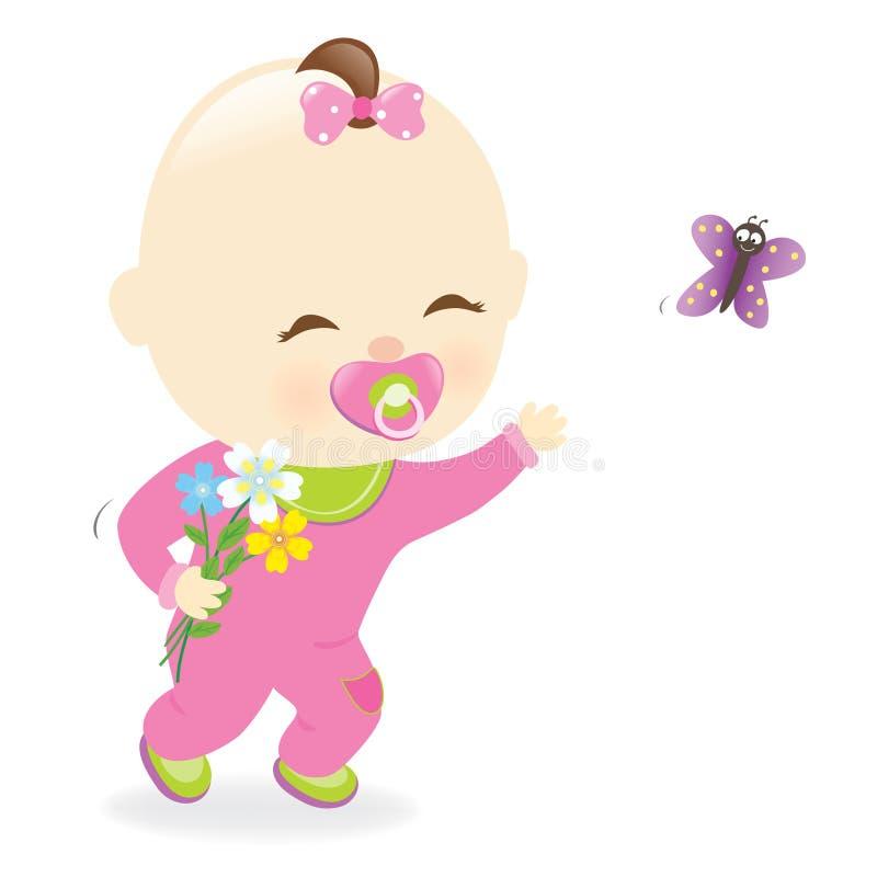 Behandla som ett barn hållande blommor för flickan stock illustrationer