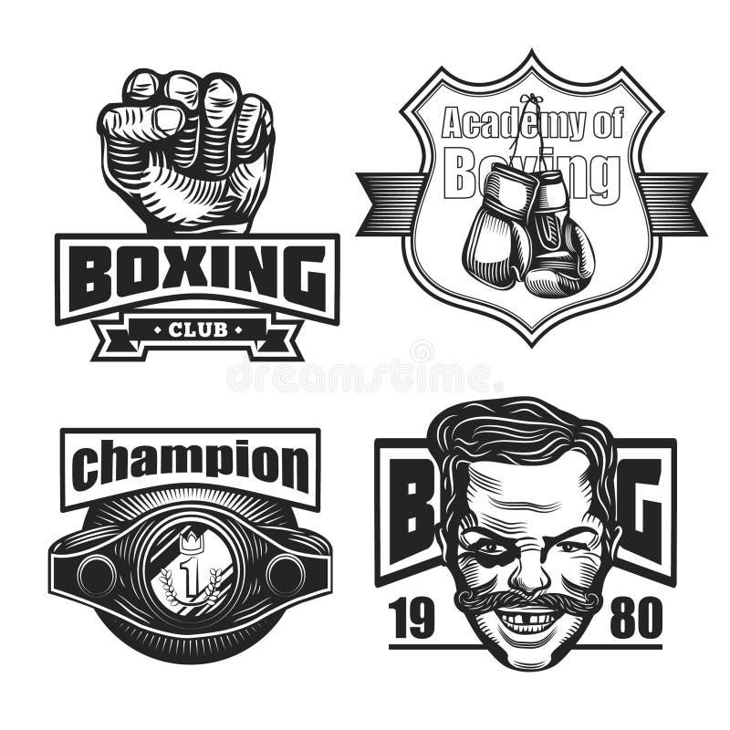 Illustration av boxning, emblemuppsättning arkivfoto