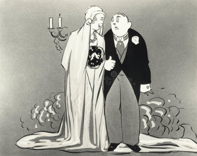 Illustration av bruden och brudgummen vektor illustrationer
