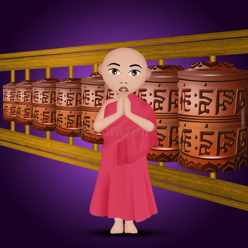 Illustration av buddistiska bönhjul stock illustrationer