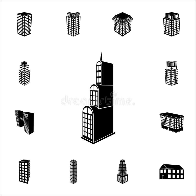 illustration av byggnad 3d av hotellsymbolen uppsättning för symboler för byggnad 3d universell för rengöringsduk och mobil vektor illustrationer