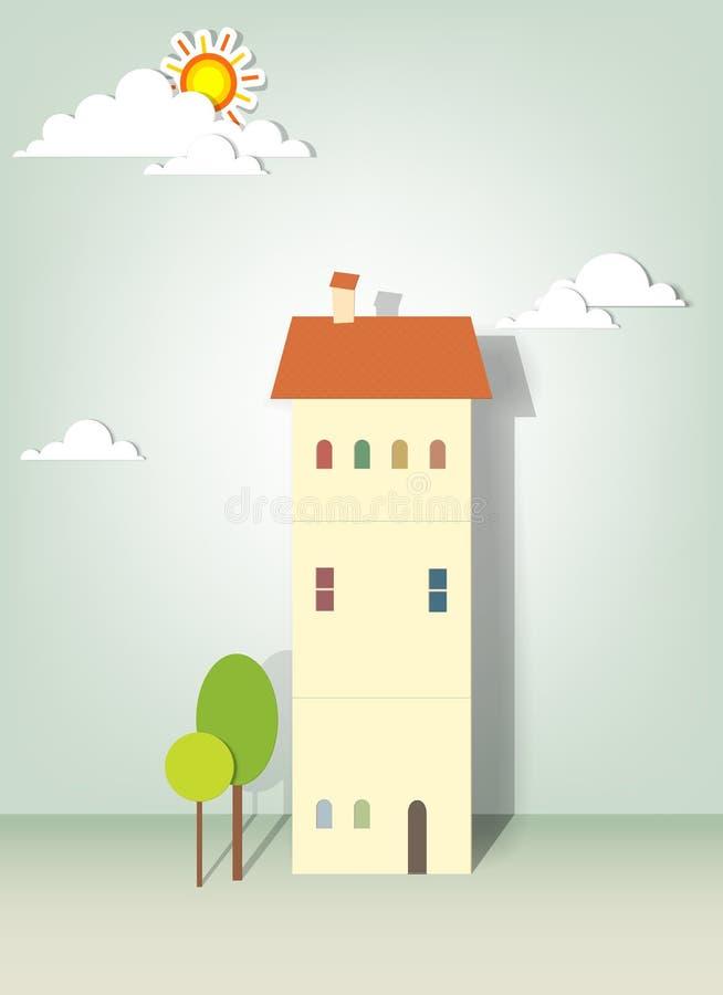 Illustration av byggnader, trees, oklarheter och sunen royaltyfri illustrationer
