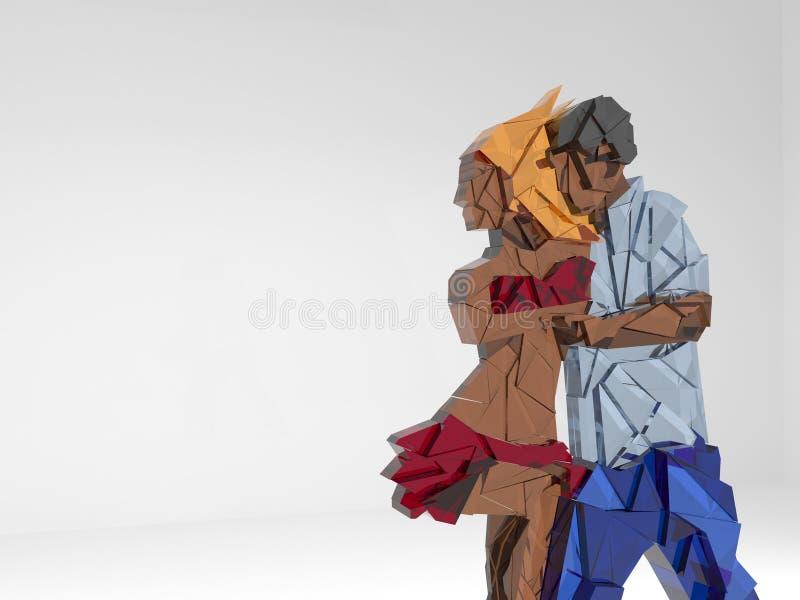 Illustration av danspar Exponeringsglas framförande 3d stock illustrationer