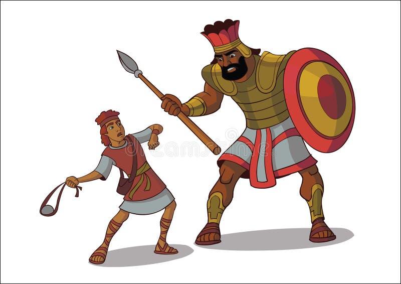 Illustration av David och kolossen royaltyfri bild