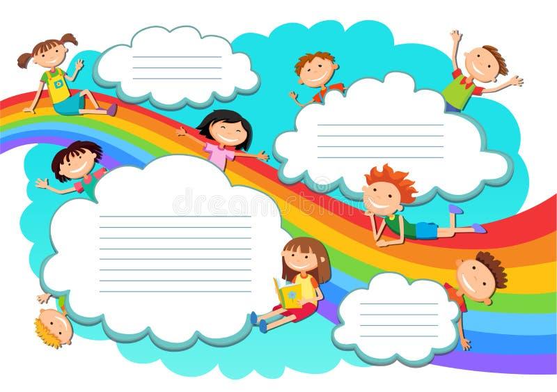 Illustration av de himmelpojkarna och flickorna som spelar på regnbågen och molnen royaltyfri illustrationer